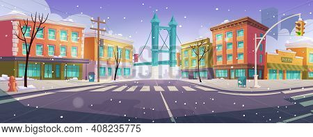 Winter Brooklyn Crossroad And Bridge City View, Empty Street With Transport Intersection And Zebra,