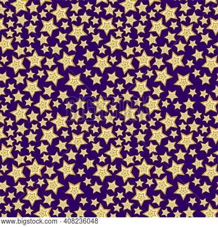 Starlight Night Complex Seamless Pattern Vector. Cartoon Simple Stars Pattern. Funny Cartoon Starry