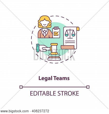 Legal Teams Concept Icon. Contract Management Software Users. Organisation Accountable Decisions Ide