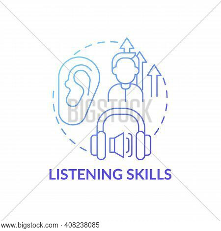 Listening Skills Concept Icon. Language Learning Competence Idea Thin Line Illustration. Practicing