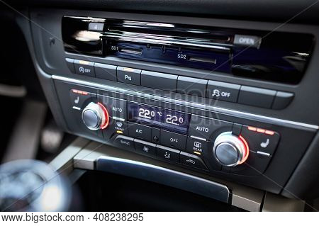 Modern Car Climate Control Panel For Driver And Passenger With Shallow Depth Of Field. Zone Climate