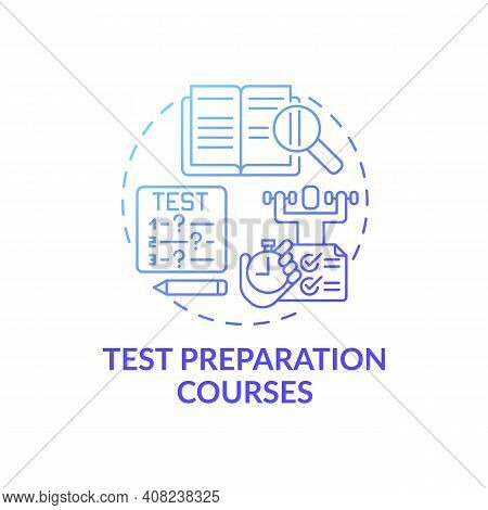 Test Preparation Courses Concept Icon. Improving Language Learning Level Idea Thin Line Illustration