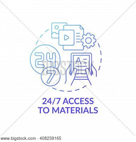 24 To 7 Access To Materials Concept Icon. Online Language Courses Idea Thin Line Illustration. Acces