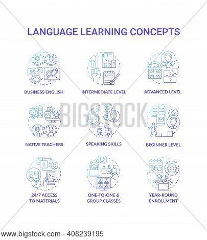 Language Learning Concept Icons Set. Language Acquisition Idea Thin Line Rgb Color Illustrations. On