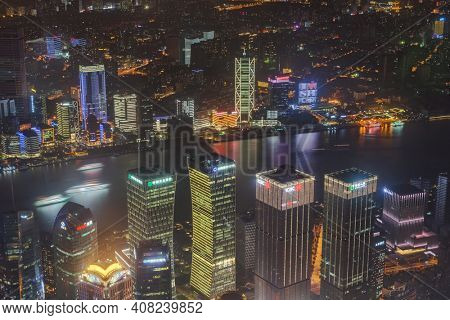 Shanghai, China - May 23, 2018: A night view from Shanghai tower to the modern skyline in Shanghai, China.