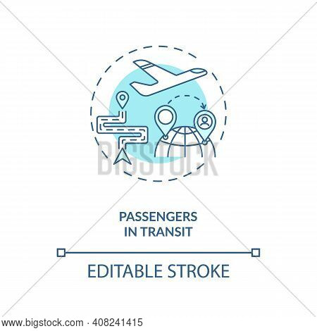 Passenger In Transit Concept Icon. Business Travel During Covid 19 Idea Thin Line Illustration. Tour