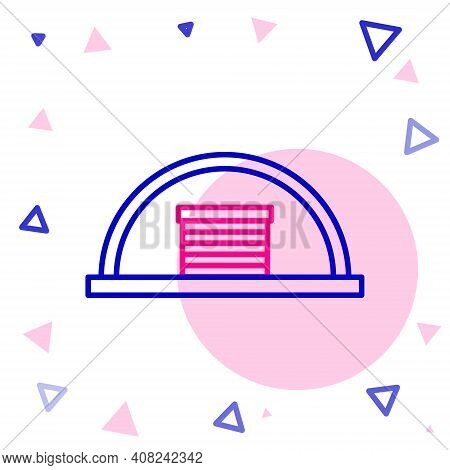 Line Hangar Icon Isolated On White Background. Colorful Outline Concept. Vector Illustration