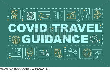 Covid Travel Guidance Word Concepts Banner. Boarding Plane. Test Covid And Masks. Infographics With