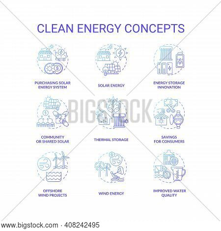 Community Or Shared Solar Concept Icons Set. Purchasing Solar Energy System Idea Thin Line Rgb Color