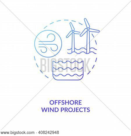 Offshore Wind Projects Concept Icon. Wind Energy To Generate Electricity Idea Thin Line Illustration