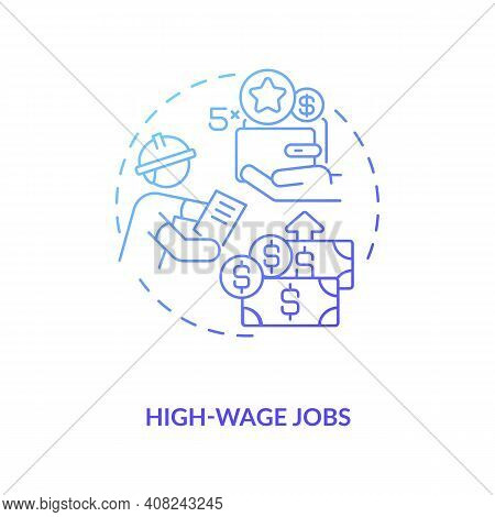High-wage Works Concept Icon. Hydropower Workforce To Growing Idea Thin Line Illustration. Solar Pan