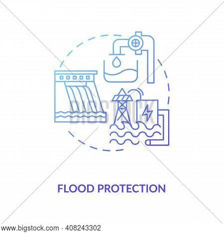 Flood Protection Concept Icon. Case Of Pumped Storage Idea Thin Line Illustration. Flood Control Tec