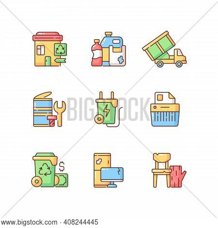 Garbage Collection Rgb Color Icons Set. Metal Waste. Energy-from-waste. Open-top Dumpster. Discarded