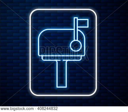 Glowing Neon Line Mail Box Icon Isolated On Brick Wall Background. Mailbox Icon. Mail Postbox On Pol