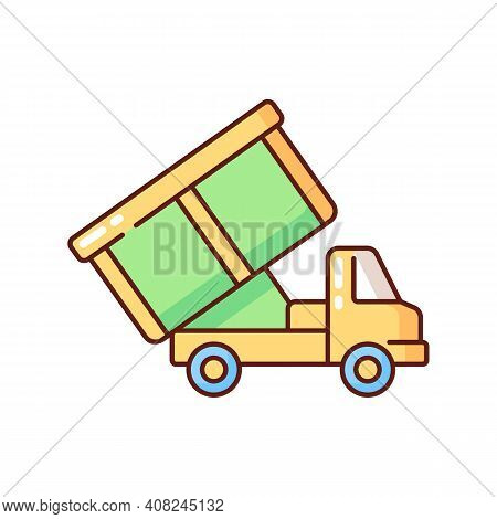 Roll-off Truck Rgb Color Icon. Open Top Dumpster. Organizational Clear Outs. Convenient Disposal Opt