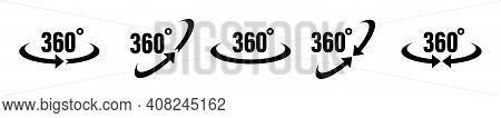 360 Degrees Vector Icon. Round Signs With Arrows Rotation To 360 Degrees. Rotate Symbol Isolated In