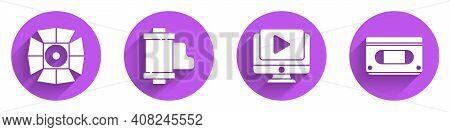 Set Movie Spotlight, Camera Vintage Film Roll Cartridge, Online Play Video And Vhs Video Cassette Ta