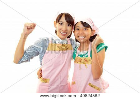 Happy smiling mom and girl