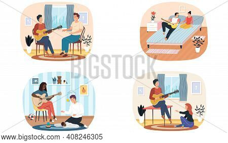 Set Of Illustrations About People Spend Time Together And Play Guitar. Making Music On String Instru