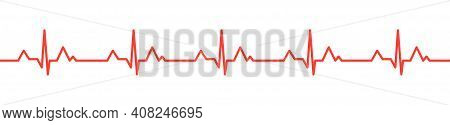 Heartbeat Red Pulse Vector Line Icon. Pulse Isolated On White Background. Heart Beat, Cardiogram. Ve