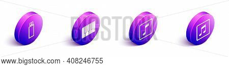 Set Isometric Usb Flash Drive, Music Synthesizer, Music Note, Tone And Music Note, Tone Icon. Vector