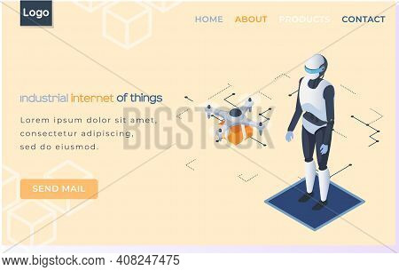 Industrial Internet Of Things Landing Page Template With Humanoid And Quadcopter Newest Technologies