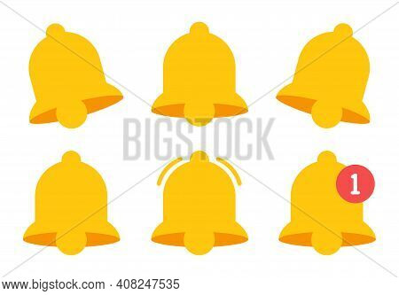 Notification Bell In Flat Style On White Background. Yellow Notification Icon Set. Sound Symbol Isol