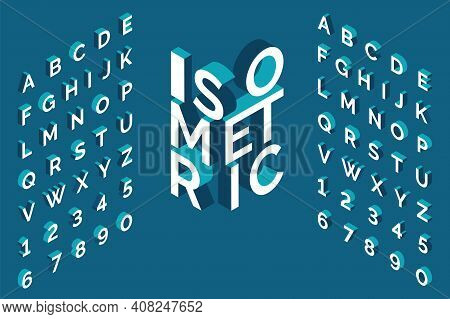 Isometric Alphabet. 3d Bold Uppercase Latin Letters And Numbers, Geometric Futuristic Typography, Cu