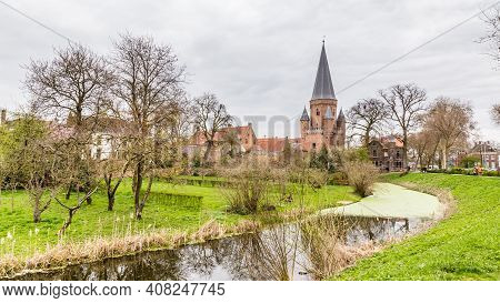 Cityscape Of Zutphen With Drogenaps Tower, A Medieval City Along The River Ijssel In Gelderland In T