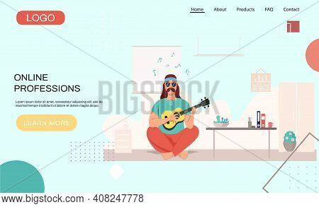 Male Hipster Bard With Ukulele In Hands. Musician Is Playing Strings On Instrument. Person Creates M