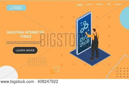 Industrial Internet Of Things 4ir Revolution, Ai, Iot, Smart Industry, Male Worker Connecting With F