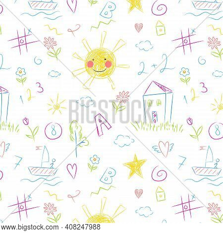 Kids Drawing Seamless Pattern. Colorful Childish Doodles Primitive Wallpaper, Crayons Naive Painting