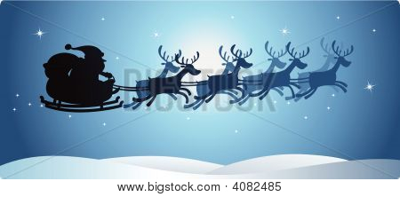 Santa And Reindeer Silhouette Blue
