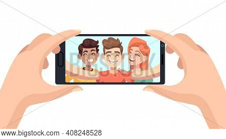Selfie On Phone. Hands Hold Smartphone, Male And Female Smiling Friends On Device Screen, Making Por
