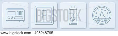 Set Line Electrical Measuring Instruments, Battery, Electric Light Switch And Ampere Meter, Multimet