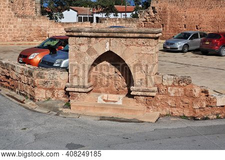 Famagusta, Northern Cyprus - 08 Jan 2016: The Ancient Fountain In Famagusta, Northern Cyprus