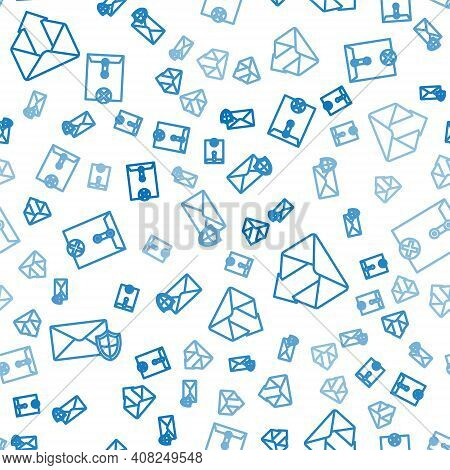 Set Line Envelope With Shield, Outgoing Mail And Delete Envelope On Seamless Pattern. Vector