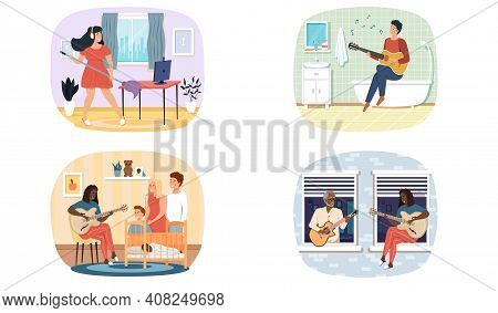 Set Of Illustrations About Musicians Play Acoustic Guitar And Entertain People. Joint Pastime With M