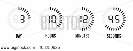 Countdown Timer Of Days Hours Minutes Seconds Vector Illustration. Digital Clock Timer Background. T