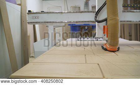 Woodworking Cnc Machine In A Furniture Factory. Machine For Cutting Mdf. Furniture Manufacturing Pro