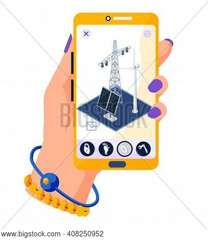 Smartphone With Green Electricity Equipment Smart Alternative Energy With Solar Panels Wind Turbines