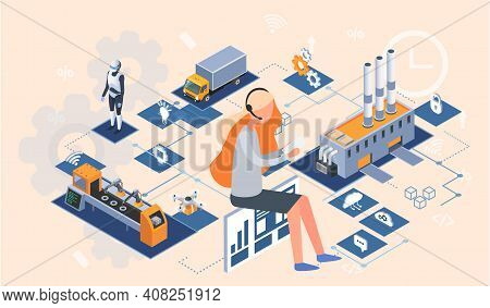 Industry Automation Production Line, Internet Of Things. Manufacturing Equipment Using Digital Devic