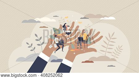 Employee Care And Labor Support With Social Security Tiny Person Concept
