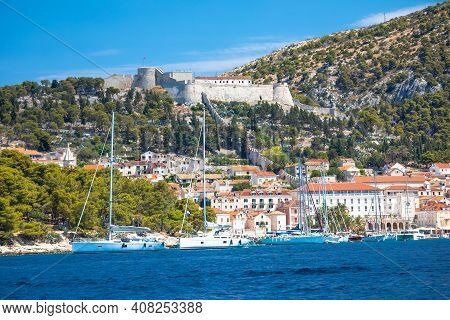 Town Of Hvar And Fortica Fortress Waterfront View, Idyllic Archipelago Of Dalmatia, Croatia