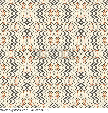 Seamless Geometric Pattern With Thin Curved Lines. Oval Shapes, Semicircle, Arc. Striped Modern Fash