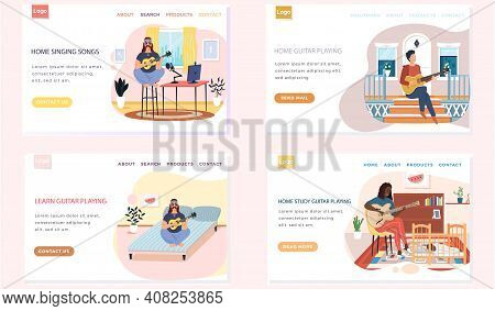 Set Of Illustrations With Men Learn And Practice Playing Guitar. People Perform Music And Songs. Gui