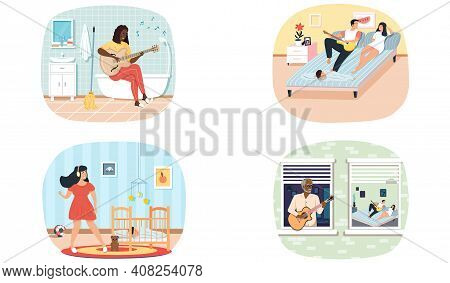 Set Of Illustrations About Characters Performing Songs And Presenting Music To Listeners. People Pla
