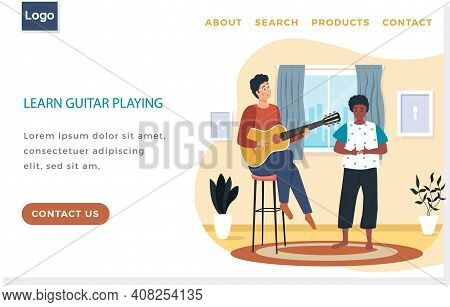 Man Playing Guitar. African American Female Character Listening To Her Male Friend Singing. Guy Play