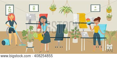 Group Character Office Cleaning Services, Woman Wash Business Workspace, Concept Banner Tidying Up C