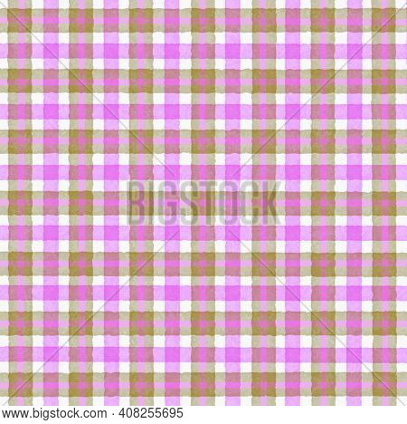 Pink Lilac Brown Vintage Checkered Background With Blur, Gradient And Grunge Texture. Classic Checke
